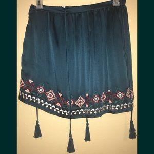 Teal Embroidered Tassel Tie Skirt